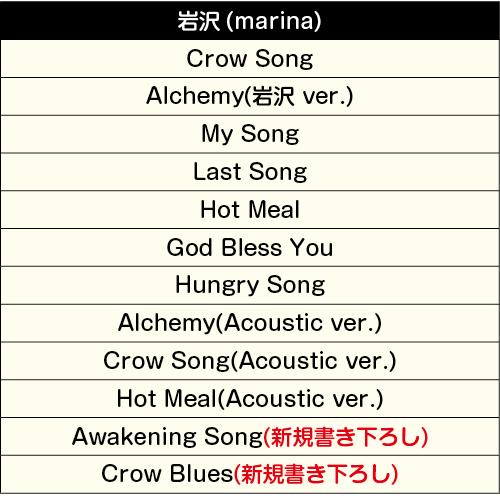 岩沢(marina)の楽曲