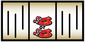 ①中リール中段~下段に赤7図柄を狙う